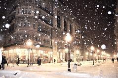 snow evening (my lala) Tags: street winter snow night evening pastel belgrade february beograd belgrad knezmihajlova