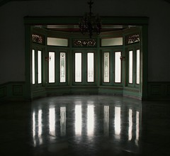 Glass doors & marble floors (eMMa_bOOm) Tags: old green history glass reflections indonesia gold java doors floor natural antique palace chandelier solo personalfavourite sultan lamps marble grandeur keraton bestcapturesaoi