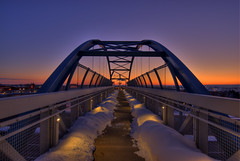 Bridge Sunrise (Thad Roan - Bridgepix) Tags: bridge snow colorado footbridge snowstorm denver facebook littleton bridgepix 201202