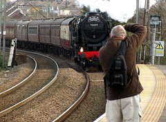 Snapping HIM, snapping IT! (Deptford Draylons) Tags: england photographers trains railways essex rayleigh britishrailways steamlocomotives specialtrains brstandardclass7 chartertrains 70000britannia vision:outdoor=0934
