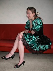 Smile (Paula Satijn) Tags: cute sexy green girl beauty shiny dress legs lace skirt satin silky classy elegance