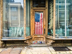 Flag (street level) Tags: nyc newyorkcity brooklyn americanflag streetscene storefront weathered iphoneography