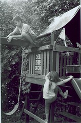 Kids on the swing (Stephen Hilton) Tags: bw blackwhite fp4 canonetgiiiql17