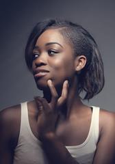 Studio portrait (Wojtek Piatek) Tags: portrait woman black girl beauty studio model pretty dish african sony young sigma portret 70200 ebony onelight a99 abigfave