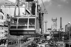 Queensborough Bridge (Bruce Livingston) Tags: nyc newyorkcity bw monochrome blackwhite tramway rooseveltisland queensboroughbridge roosevelttramway nikon3570mmf28d d800e