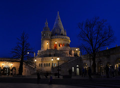 Fisherman's Bastion (Gabriel Kay) Tags: building tower castle architecture night outdoor budapest bluehour bastion