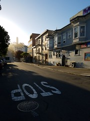 don't stop (pinelife) Tags: sanfrancisco street sunset stop coittower northbeach