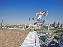 Roofing in Astana (Alexandr Tikki) Tags: world street travel blue roof wild sky people man game art me beauty wow idea freedom crazy amazing cool fantastic jump perfect flickr day view feel great dream super best hero imagine done inspire incredible kazakhstan roofing astana tikki gopro ecxellent goprohero4