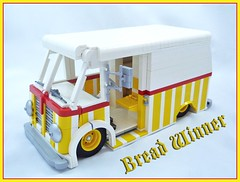 Bread Winner (Lino M) Tags: red white car yellow truck bread lego metro nuts international 1940s 1950s winner delivery van fabulous sled martins forties lowered lino harvester lug