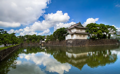 Imperial Palace (arcreyes [-ratamahatta-]) Tags: trees summer sky castle water japan reflections tokyo day cloudy clear imperialpalace moat hdr guardtower 2011 3xp agustinrafaelreyes