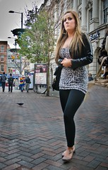 Clasped Hands in Nottingham (pickup2sticks 5.3 million views) Tags: street city nottingham people urban woman stockings fashion walking nikon path candid style tights skirt brunette tamron d7000 gjkerr