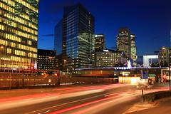 La Dfense (pixiprol) Tags: city sunset urban paris france building tower car night skyscraper de french soleil tour shot coucher ile voiture ciel nuit dfense puteaux gratte courbevoie