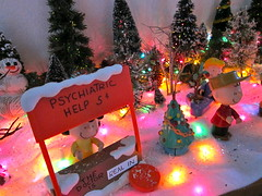 Doctor Lucy is REAL IN (kevin dooley) Tags: christmas xmas light red green yellow psychiatry miniature lucy 5 five peanuts scene help doctor cents charliebrown psychiatric psychology therapist charlesschultz christmasscene xmasscene maryellenpage realin