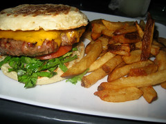 Pianos - Burger with cheddar, lettuce, tomatoes, and pickles on a toasted English Muffin with fries (willy cheesesteak) Tags: food burger cheeseburger fries burgers pianos cheeseburgers