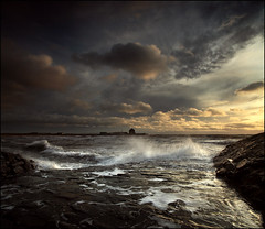 Storm Light - Elie Fife (angus clyne) Tags: ocean new old uk blue winter light sunset red sea summer cloud lighthouse house fish seascape storm cold green art fall water rain yellow rock wall canon dark print landscape coast scotland boat moving spring fishing europe long exposure ray ship harbour fife angus north picture fluffy wave spray east beam forth photograph foam splash shipping elie firth atumn clyne colorphotoaward vertorama 5dmarkii aboveandbeyondlevel1