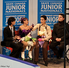 Maekawas in the Kiss & Cry (Melanie Heaney) Tags: sports action coaching figureskating icedance kissandcry pilarmaekawa leonardomaekawa 2011canadians malcomrohonohalloran
