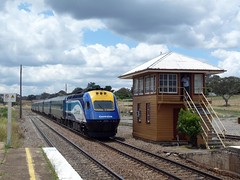 XPT at Yass Junction (sth475) Tags: railroad summer train 2000 diesel country platform railway loco australia nsw locomotive express passenger pushpull intercity signalbox signaltower hst xpt abv 2016 paxman xp2000 mainsouth southerntablelands comeng signalcabin powercar xpclass yassjunction xp2016