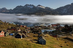 morning fog in east greenland (mariusz kluzniak) Tags: houses mist mountains ice fog sunrise circle landscape bay village view sony north east arctic greenland layers rays iceberg polar alpha region americas settlement 580 kulusuk tasiilaq the4elements a580