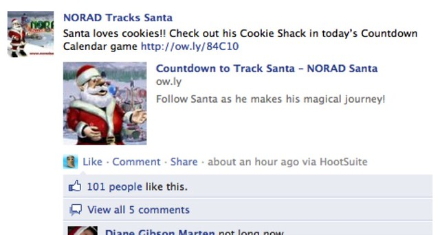 NORAD Santa on Facebook