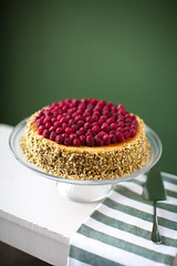 Raspberry & Pistachio Cheesecake (nicoalaryjr) Tags: christmas food canon dessert 50mm australia melbourne cheesecake pistachio 12 rogers raspberries