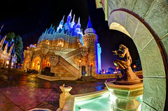 Cinderella's Castle Fountain Fisheye (TheTimeTheSpace) Tags: fountain stars nikon magic disney fisheye disneyworld glowing wdw 8mm hdr magickingdom cinderellascastle dreamlights d7000