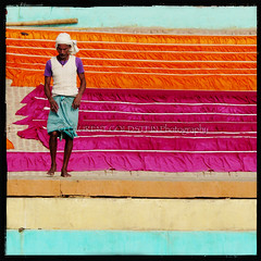 Singing Colours (designldg) Tags: people india man colour stairs river square atmosphere human soul elder varanasi shanti dharma kashi rhythm ganga ganges benaras ghat ake uttarpradesh banares