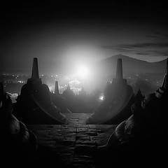 A New Dawn ... (Hengki Koentjoro) Tags: new morning mystery temple dawn lights early am day buddhist dream surreal hour ethereal sacred wee mystic borobudur
