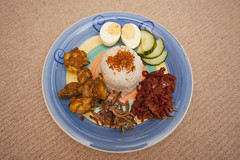 Nasi Lemak (Malaysian Coconut Milk Rice with Anchovies Sambal) ({CP}) Tags: above red 2 3 fish cup water leaves 1 milk rice coconut cut oz juice 10 or paste small 14 4 cucumber salt hard tie can knot sugar size cups anchovies half garlic eggs pulp them onion taste 12 then dried steamed shallots boiled sardines slices 56 chillies prawn ikan shown belacan tamarind clove teaspoon tablespoon bilis hss smelt quartered screwpine happysliderssunday