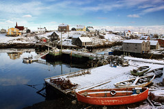 Peggy's - A Snowy Overview (sminky_pinky100 (In and Out)) Tags: travel houses winter snow canada water landscape boats dock novascotia harbour scenic coastal peggyscove lobsterpots toursim omot cans2s