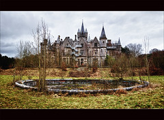 The Abandoned Castle (backside) (Explore) (Bert Kaufmann) Tags: house castle abandoned beautiful belgium belgique decay empty ghost ardennen ardennes belgi dirty spooky explore rusting miranda chateau demolished hdr noisy dinant urbanexploring kasteel namur urbex wallonie namen brokenbuilding verval houyet celles walloni verlaten vervallen explored chteaumiranda chteaudenoisy homedenoisy oldorphanarium