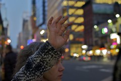 (sophieococonut) Tags: christmas new york city nyc winter woman ny streets cars lights raw hand cab taxi hailing