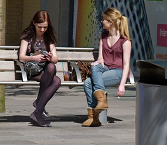 Cigarette 56 (Andy WXx2009) Tags: girls urban woman sexy stockings fashion wales bench europe sitting legs boots artistic cigarette candid cardiff streetphotography smoking redhead jeans blonde ponytail bags miniskirt crosslegged mygearandme