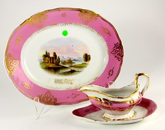 78. 19th Century Painted Landscape Platter and Gravy Boat
