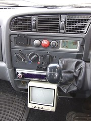 Dashboard with reversing sensors above gear lever and monitor for reversing camera below (Mudman101) Tags: fiat motorhome ducato