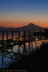 New Years Reflections - Looking down the Columbia River from Portland at Mt. Hood. Taken New Years morning 2012.