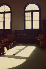 (jillian elena) Tags: old school light sunlight abandoned window canon vintage ancient peeling paint decay piano seats auditorium trespassing oldfashioned trentonflorida
