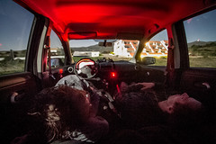 Sleepers (Neo - nimajus) Tags: travel sleeping moon car youth night spain nissan sleep catalonia midnight vehicle moonlight inside uncomfortable cadaques capdecreus nissannote