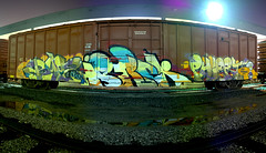 RYOE  ISREK  FLERT (TRUE 2 DEATH) Tags: railroad autostitch panorama art train graffiti pano graf trains panoramic railcar spraypaint boxcar railways stitched railfan freight aub villains cbs freighttrain 159 autostitched autopano  lgf flert stitchedpanorama autopanopro benching freighttraingraffiti ryoe 3ek isrek