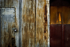Sheet metal door (hutchphotography2020) Tags: nikon rust rivets lock latch sheetmetal
