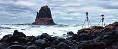 - Day of the Tripods - (Luke Tscharke) Tags: longexposure panorama night dark coast wide victoria tripods rockformation pulpitrock 241 capeschank pleaseviewlarge shootingwithfriends timbest gavowen tapl