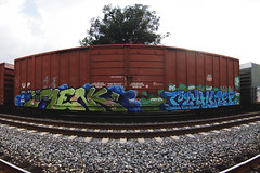 MENK  MYANS (TRUE 2 DEATH) Tags: railroad autostitch panorama art train graffiti aids pano tag graf trains panoramic railcar boxcar railways stitched railfan rt freight freighttrain autostitched rollingstock autopano  menk stitchedpanorama myans autopanopro benching freighttraingraffiti