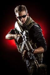 Modern Warfare IV (dtpancio) Tags: red portrait italy black studio soldier background it backlit combat sir reggioemilia softair assaultrifle hardlight bibbiano modernwarfare alessandroperdelli