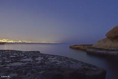 peaceful scene (boukarimkarim) Tags: city longexposure sea lebanon canon 7d startrails nightshooting rockyshore karimboukarim