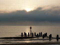 Lowestoft beach, early morning (Kirkleyjohn) Tags: beach silhouette sunrise suffolk groyne eastanglia lowestoft kirkley aftersunrise