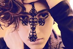 I wear the cross of evil dreams (Greten_) Tags: blue blackandwhite woman black girl sepia dark hair necklace eyes hands cross mystical magical pendant crusade crucified nicewomangirldarkcrosssepiablackandwhiteeyeshandscrucifiedhairnecklacependantbluemysticalmagicalcrusadenice