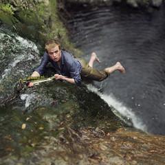 The escape route. (David Talley) Tags: cliff lake fall wet water creek river waterfall losangeles scary pants rope falls southerncalifornia splash dangling cataract splashing cataractfalls sandimas 365project davidtalley