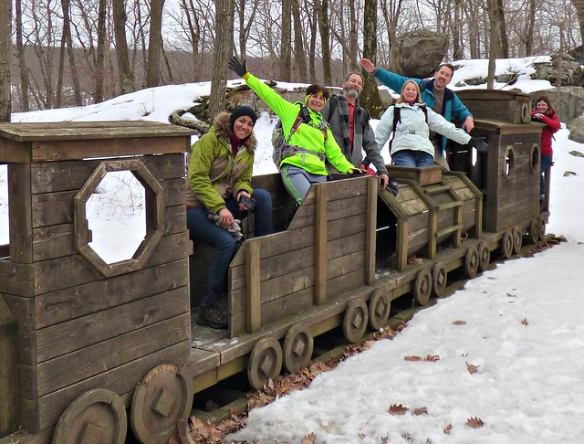 Wooden train near Lake Kanawauke