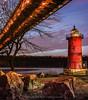 New York City: Little Red Lighthouse & George Washington Bridge (Photography by Carlos Martin) Tags: newyorkcity architecture hudsonriver bluehour sincity georgewashingtonbridge littleredlighthouse fortwashingtonpark hudsonrivergreenway jeffreyshooklight goldenart pinnaclephotography