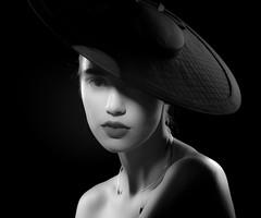 Lindsay Adler-12 (jerseytom55) Tags: portrait blackandwhite monochrome hat fashion mystery soft noir chelseany lindsayadler pentax645z