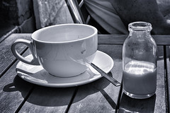 Milk for the coffee (scrimmy) Tags: outdoors scotland milk bottle broughtyferry dundee coffeecup coffe milkbottle fishermanstavern